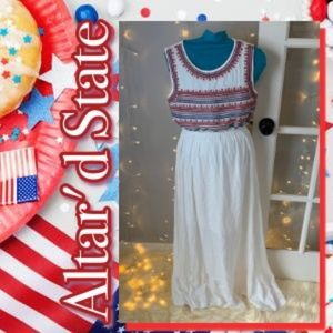 Altar'd State White Maxi w/ Red & Blue Embroidery